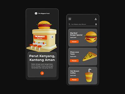 The Biggest Food Resto App Dark Mode 3d userexperience userinterface coffee pizza burger resto food uiuxdesign figma design mobiledesign application mobile uxresearch uxdesign uidesign ux ui