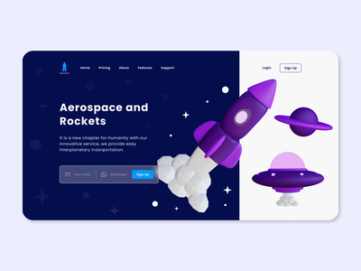 UI Design: Aerospace and Rockets Landing Page 3d modeling 3d design 3d design website web design rocket aerospace landing page ux design ui design uiux ux ui