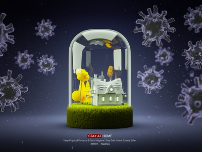 Stay At Home! 3d artist stay at home stay safe attack virus b3d ncov19 covid 19 coronavirus design 3d art buildings 3d isometric stayathome