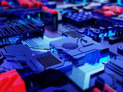 Texture Displacement 3d artist blender3dart 3d art blender3d light motherboard circuit board displacement blender debut cold city illustration design buildings building affinity 3d isometric