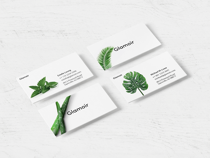 Glamoir fasion designing design natural leaves business cards cards cosmetic beauty brand branding