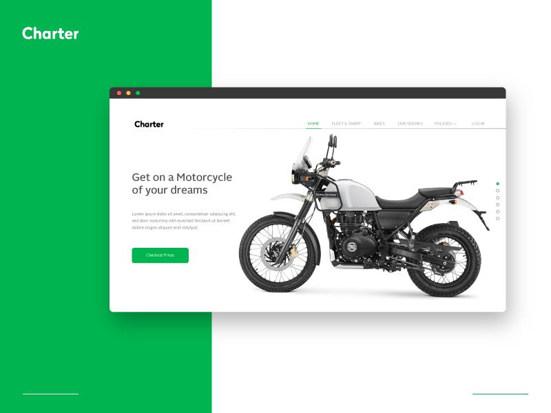 Charter Branding designing design uiux website logo rent bike rental branding