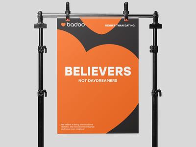 Believers not Daydreamers print heart typography poster badoo