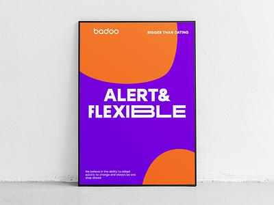 Alert & Flexible print heart typography poster badoo