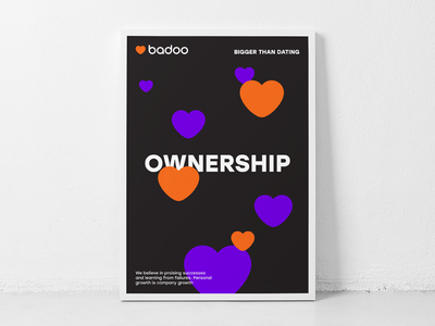 Ownership print heart typography poster badoo
