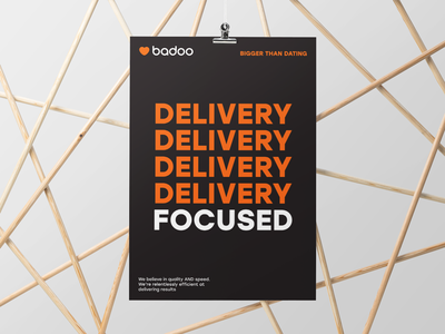 Delivery Focused print heart typography poster badoo
