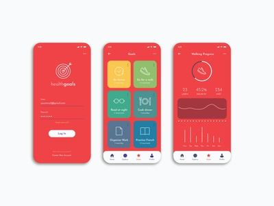 Health Goals |  Mobile App UI | UI Design mobile app ui mobile app design uiux graphic design design ui