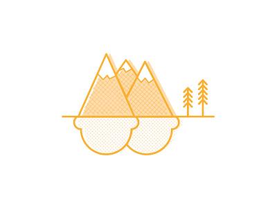 Ice Cream Mountain ice cream cone ice cream design outside outdoors nature illustrating mountains illustration