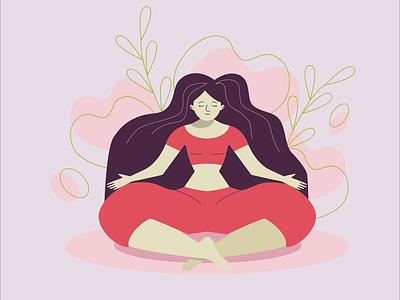 Yoga Time lotus yoga pose girl yoga vector vectorart illustration flat design