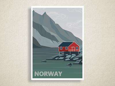 Norway landscape nature poster scandinavian scandinavia norway vector illustration flat