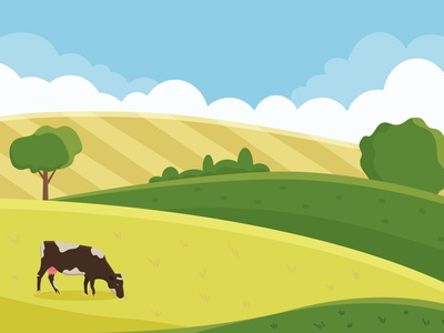 Summer meadow grazing cow summer meadow design flat flat illustration illustration vector