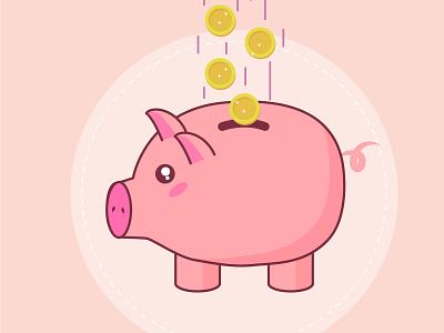Piggy bank kawaii piggy bank flat flat illustration illustration vector