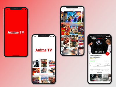 Anime TV app UI design graphic design typography app ux icon uidesign animeapp uiux design beginner figma design