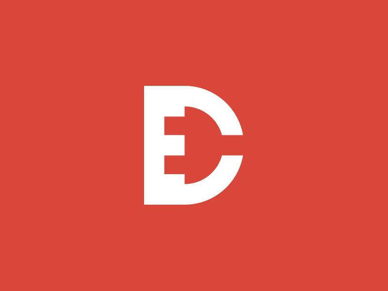 DANTECH ELECTRICAL MONOGRAM logo electrical branding monogram plug business card red