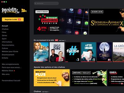 Molotov desktop App branding startup ux flat clean app ui