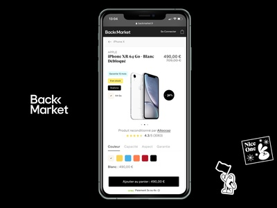 Back market mobile product page redesign startup minimal iphone mobile design ux flat clean app ui