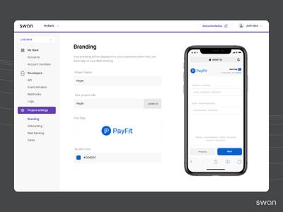 Swan Dashboard branding minimal design clean ux flat app ui fintech finance