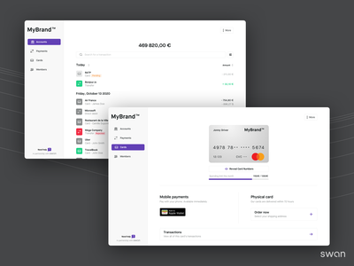 Swan Web Banking startup branding minimal clean ux flat app ui finance fintech