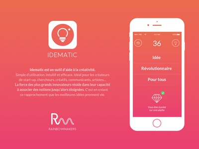 Idematic app flat ui ux iphone ios mobile idematic generator idea startup clean