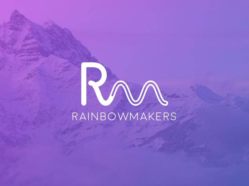 RainbowMakers logo mobile app flat ui gradient identity branding typography design clean brand