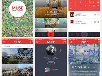 Muse ui ux sketch template free freebie app mobile flat mockup clean design