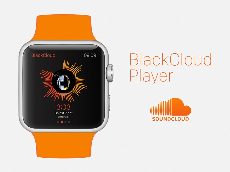 Blackcloud Player clean design apple watch flat ui ux soundcloud player ios music minimal
