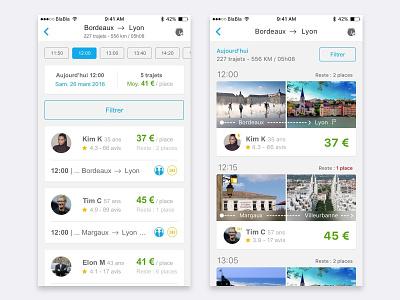 Blablacar iphone flat clean app ui