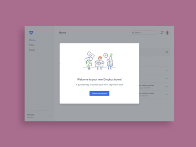 Dropbox Home onboarding onboarding screen product design visual design onboarding