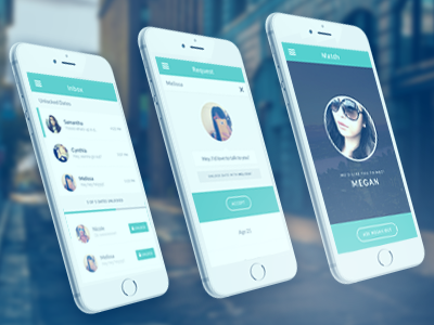 NEXTDATE app design mobile design ios design minimal dating profile inbox messaging