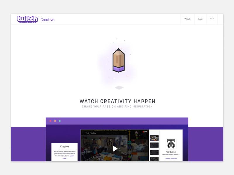 Twitch Creative Landing Page navigation illustration animation visual design landing page