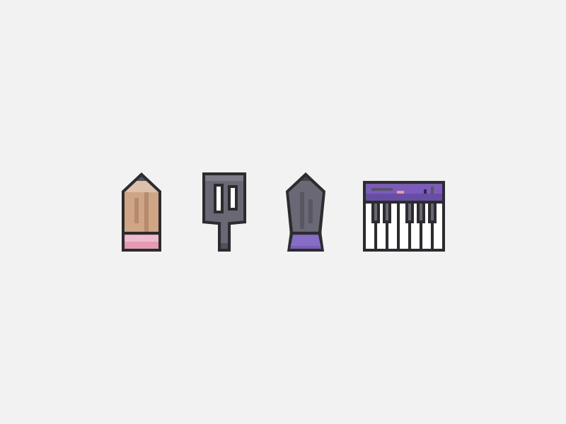 Craft Icons lines icon pencil spatula pen piano icons