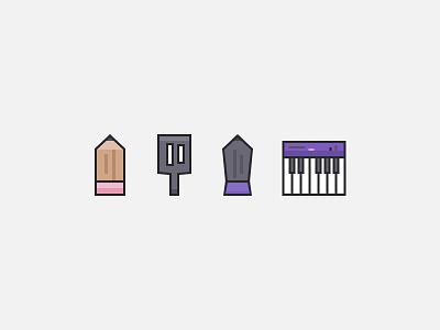 Craft Icons lines icon pencil spatula pen piano icons