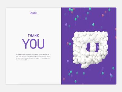 Twitch Retrospective End Scene animation scroll parallax retrospective illustration visual design web design single page