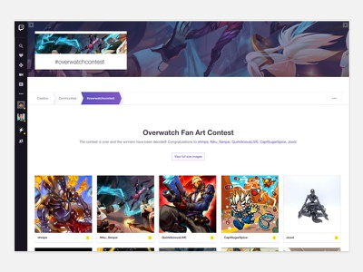 Creative Community Pages gallery profile card banner parallax twitch creative