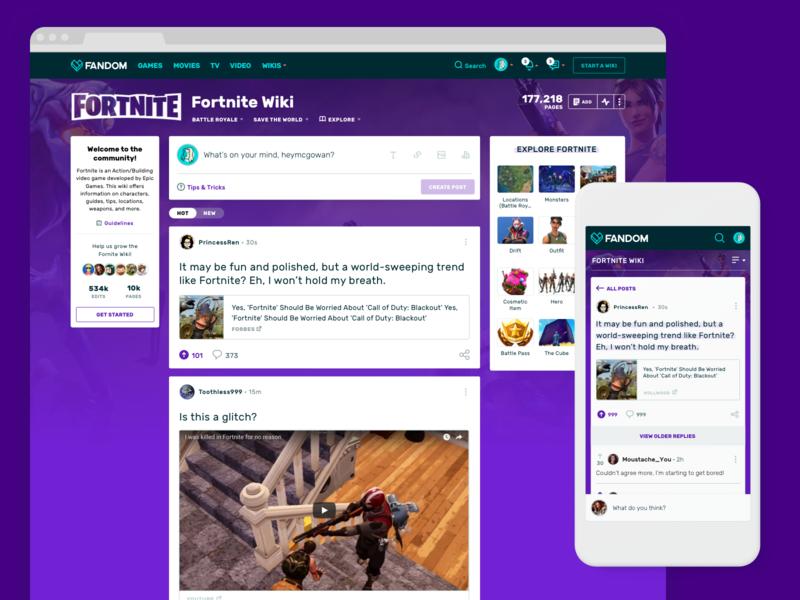 Community Feeds: A New Doorway Into Your Fandom community feed mobile desktop gaming fortnite ux  ui ux wikia design ui pop culture fandom