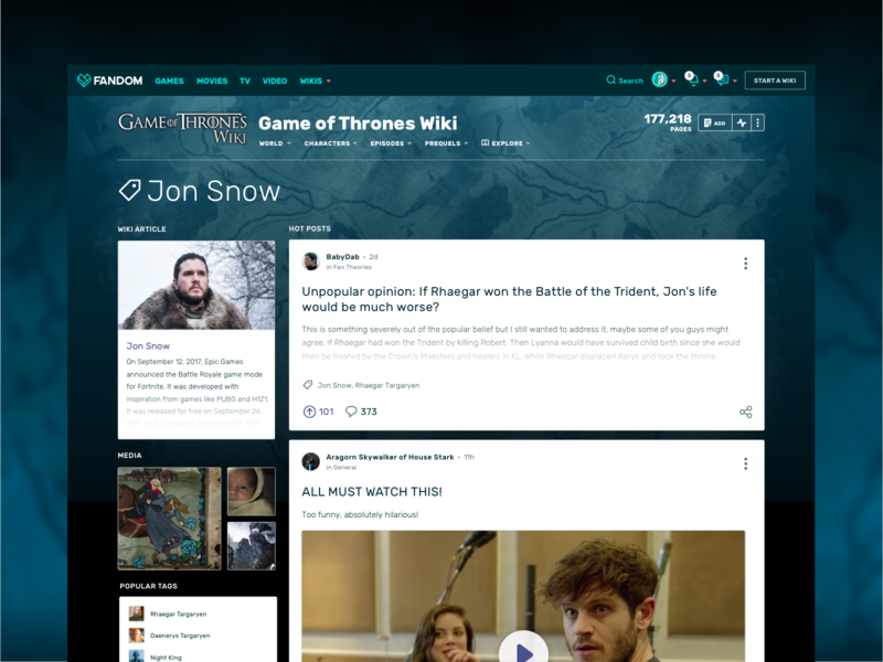 Community Tag Pages wiki community social cards feed product design ux  ui ux tagging tag got game of thrones fandom