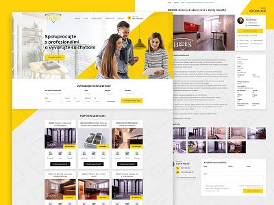 Real Estate Agency Bedes uidesign design home estate realestate yellow ux ui webdesign