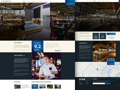Dunajský pivovar webdesign website dark blue river travel hotel coffee beer restaurant botel dunaj
