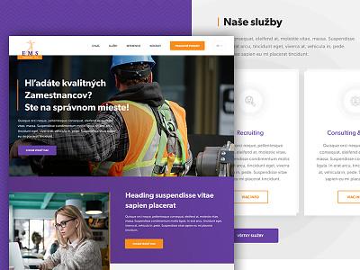 EMS  employee orange purple violet web design job