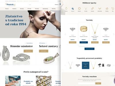 Klenotnik gold clean website web shop ecommerce accessories earings rings jewelry