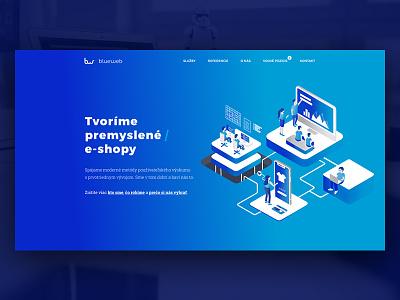 Blueweb blue design layout homepage landing ux ui webdesign