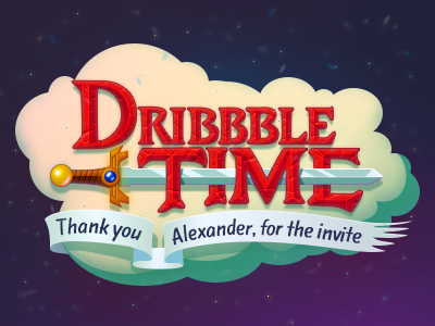 Thank you adventure-time time dribbble thank-you thanks invite graphicdesign draft debut illustrator