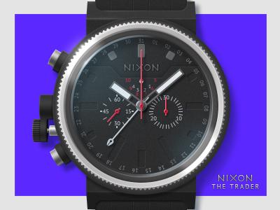 NIXON the trader nixon watch black blue strap dial time clock