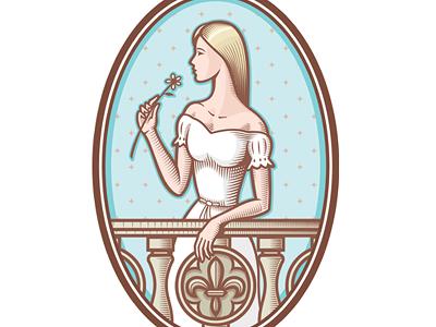 Tatiana Provence logotype balcony russia naivety locket cameo flower girl hotel logo