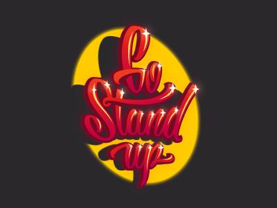 GoStandUp logotype logo spotlight artists performance lettering laughter comic humor stand-up
