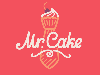 Mr. Cake logotype logo tie mr sweet cake cream cook confectionery cakes candy