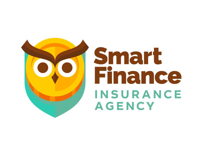 Smart finance logotype logo shield coin money owl agency insurance finance smart