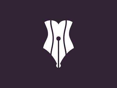 Corset Pen cabaret logotype logo women pen corset