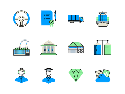 Free icons set (sketch) drive doc car sea factory store warehouse diamond support government court cloud elevator seed