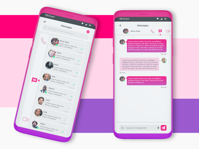 Mobile Messaging app mobile app ui design mobile apps mobile application messaging app messaging pink app design purple app design pink mobile app ui mobile ui mobile app design dailyuichallenge13 dailyuichallenge daily ui 013 dailyui pink message mobile app mobile messaging app